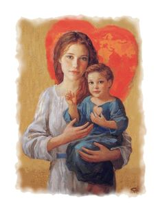 Immaculate Heart of Mary and baby Sacred Heart of Jesus