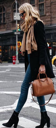 #winter #outfits long black jacket, jeans, black boots, brown bag