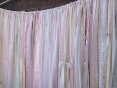 Blush Pink and Ivory Wedding Backdrop 5x6 Fabric by ChangesByNeci Shabby Chic Ivory and pink ribbon garland backdrop