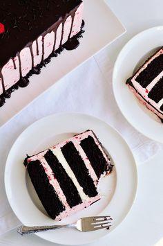 Dark Chocolate & Raspberry Buttercream Cake with Ganache Drizzle