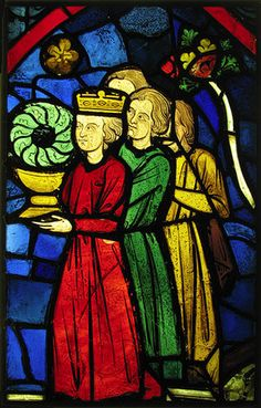 This stained glass panel created in depicts Louis at Sens with his brother and some courtiers. This panel was installed in the Sainte-Chapelle. The panel is made of Pot-metal glass and vitreous paint. The panel is currently in France. Medieval Stained Glass, Stained Glass Church, Stained Glass Angel, Faux Stained Glass, Stained Glass Windows, Window Glass, Wine Bottle Wall, Wine Bottles, Perfume Bottles