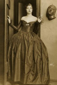 Libby Holman, by Sarony New York, c.1928 stage actress. One of Holman's signature looks was the strapless dress, which she has been credited with having invented  or at least being one of its first high profile wearers.