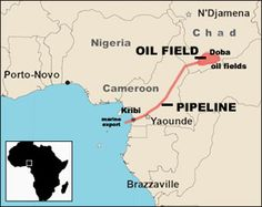 This map shows where the oil pipeline is going from. It heads from southern Chad all the way to the Gulf of Guinea. Most of Chad's revenue income it based around the Oil Pipeline. It was built by Exxon Mobil and the World Bank in the early 2000's. It is now on of their Prized Possessions