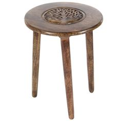 The top of this table features a circular shape with design that makes it unique. Keep this table anywhere you wish to in your living room, bedroom or hallway. This table has wooden carved design in center which is very alluring. It will thus get well along with traditional and modern themes. This table has tripod base which makes it look more gracious.