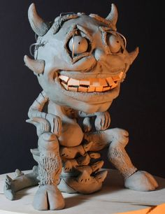 #claysculpture of a #demon of addicted to watching bad Sci-fi for #monsterpedia comic volume 3, front