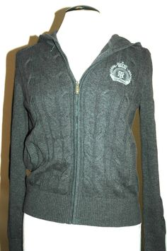 Tommy Hilfiger Women's Cable Knit Full-Zip Hoody Gray Size M $79.50 NWT #TommyHilfiger #FullZipHoody