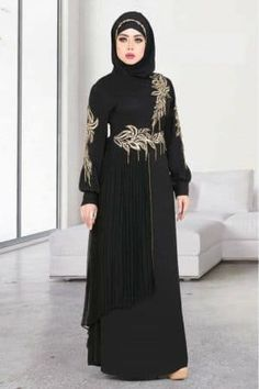 Black Abaya is the Main Abaya Color which egyptabaya specialized in and offer it in different Models and Styles Burka Fashion, Iranian Women Fashion, Muslim Fashion, Hijab Fashion, Fashion Outfits, Fashion Quiz, Muslim Dress Code, Hijab Evening Dress, Black Abaya