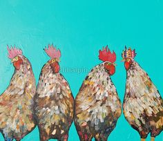 Four Roosters in Turquoise