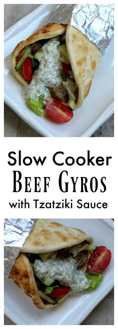 Slow Cooker Beef Gyros Recipe: Tender pieces of beef with soft onions, juicy tomatoes, crisp lettuce, creamy cucumber yogurt…