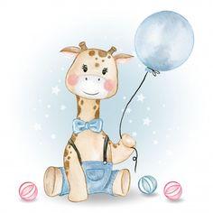 Girafa bebê segurando o balão e jogando ... | Premium Vector #Freepik #vector #aquarela