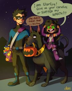 Damian and Mari dressed as nightwing and starfire and Titus as well Robin Starfire, Nightwing And Starfire, Teen Titans Love, Teen Titans Fanart, Teen Titans Robin, Marvel Vs, Marvel Dc Comics, Gato Anime, Dc Memes