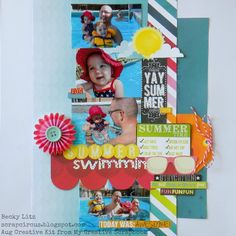 Summer Swimmin' - August 2014 Creative Kit from My Creative Scrapbook, Lemonade Stand collection from Bo Bunny. Shells And Sand, Image Layout, Multi Photo, Birthday Wishes, Lemonade, Bunny, Paper Crafts, Kit, August 2014