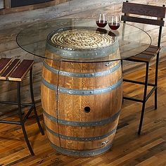Reclaimed Wine Barrel Pub Table with Glass Top- Also has shelving inside