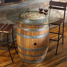Reversible reclaimed wine barrel Glass Top Reclaimed Wine Barrel Pub Table With Glass Top Also Has Shelving Inside Wine Barrel End Pinterest 30 Best Wine Barrel Table Images Barrels Whiskey Barrels Wine