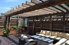 Contemporary Outdoor Space with Reclaimed Timber Pergola - contemporary -  - chicago - by Chicago Roof Deck & Garden