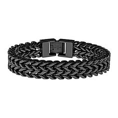 jcp | Mens Black Ion-Plated Stainless Steel Braided Multi-Row Chain Bracelet