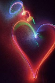 Neon Heart Happy I Love With All My Follow Your