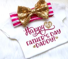 Fathers day outfit, happy 1st Father's Day, daddy's day, daddys princess, my heart belongs to daddy, newborn, baby shower, daddy's bestie by PerfectlyPINKBow on Etsy https://www.etsy.com/listing/518254108/fathers-day-outfit-happy-1st-fathers-day