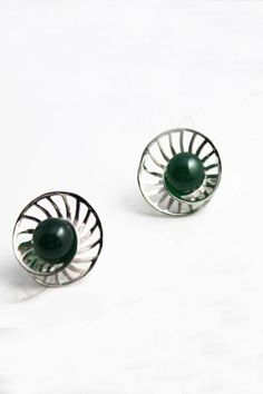 925 Silver Earring With Green Agate $48.00