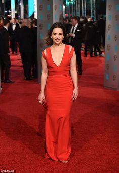 Blending in with the carpet: Emilia, who plays Daenerys Targaryen in the HBO series, looke...