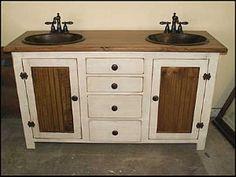 Rustic Farmhouse Vanity - 60 - Double Bathroom Vanity - - Bathroom Vanity with sink - Copper Sink - Bathroom Vanities - Sink Country Bathroom Vanities, Bathroom Sink Vanity, Bath Vanities, Bathroom Cabinets, Bathroom Flooring, Copper Bathroom, Bathroom Red, Copper Sinks, Hammered Copper