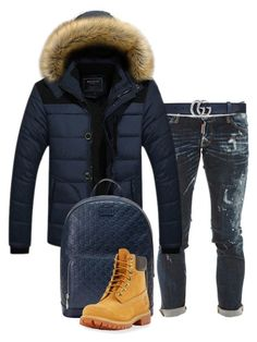 A menswear look from June 2017 featuring mens denim jeans, mens collared jacket and mens lace up boots. Browse and shop related looks. Winter Swag Outfits, Swag Outfits Men, Nike Outfits, Timberland Outfits, Timberland Style, Dope Outfits For Guys, Cool Outfits, Mens Sweatpants, Winter Trends