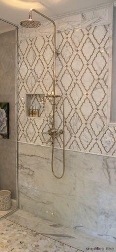 Simplified Bee - bathrooms - shower niche, moroccan tile, moroccan tile shower, moroccan tile shower surround