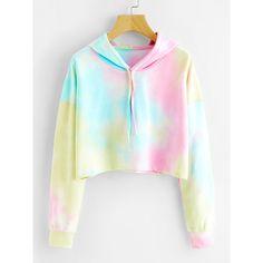 Tie Dye Drop Shoulder Crop Hoodie (38 BRL) ❤ liked on Polyvore featuring tops, hoodies, shirts, sweaters, crop tops, multicolor, cropped hoodies, long sleeve shirts, tie die shirts and long sleeve hoodie
