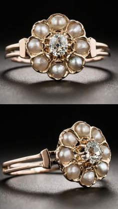 *Victorian Diamond and Pearl Cluster Ring, A late-nineteenth century Victorian charmer, rendered in 18K rose gold and glistening front and center with a .20 carat old mine-cut diamond surrounded by shimmering pear natural petals.