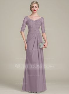 A-Line/Princess V-neck Floor-Length Chiffon Lace Mother of the Bride Dress With Ruffle - Mother of the Bride Dresses - JJ's House Dress Muslim Modern, Dress Brokat Modern, Chiffon Evening Dresses, Formal Evening Dresses, Mother Of Bride Outfits, Mother Of The Bride, Vestidos Mob, Dress Pesta, Batik Dress