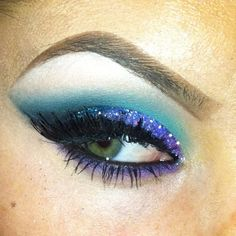 Blue glitter eyeshadow makeup by Christina Cagle