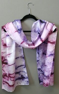 Royale Hand-painted Silk Scarf in Shades of Purple Eggplant #silk #scarf #purple