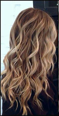 Caramel highlights on top of a light blonde