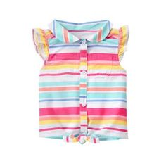 Toddler Girls Peach Stripe Tie Front Top by Gymboree Cute Outfits For Kids, Toddler Girl Outfits, Toddler Girls, Girls Blouse, Front Tie Top, Gymboree, Kids Fashion, Clothes, Peach
