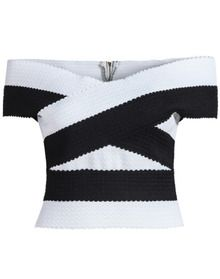 Black White Off The Shoulder Slim Blouse US$17.50