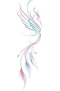 Phoenix Tattoo Feminine, Small Phoenix Tattoos, Phoenix Tattoo Design, Small Tattoos, Simple Phoenix Tattoo, Feminine Back Tattoos, Phoenix Feather Tattoos, Tattoo Phoenix, Mini Tattoos