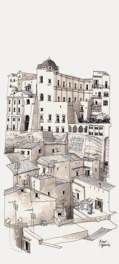 Ink & wash sketch from Simo Capecchi's 'Vertical Naples' collection.