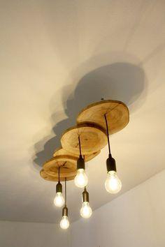 Wooden pendant light - Field Maple slices / Wooden ceiling lamp / Wood light fix. Wooden pendant l Industrial Ceiling Lights, Rustic Lighting, Ceiling Light Fixtures, Industrial Lamps, Ceiling Lamps, Ceiling Lighting, Modern Industrial, Floor Lamps, Pendant Lamp