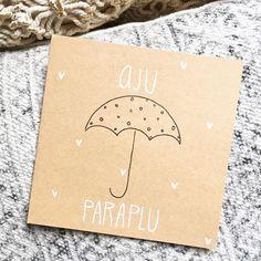#lievigheidje #ajuparaplu #totziens #afscheid #afscheidscadeau #juf #juffendag #juffencadeau #lekkerweertje #regen #paraplu #cards #handmadecards #handlettering #stuureenseenkaartje #zwartwit #zwartwithout #kraft Craft Gifts, Diy Gifts, Goodbye Gifts, Thank You Gifts, Diy Cards, Cute Drawings, Party Gifts, Doodle Art, Teacher Gifts