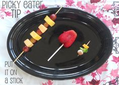 Your Kid's Table: Picky Eater Tip: Put it on a Stick! Love the tiny veggie kabobs, for first tastes!