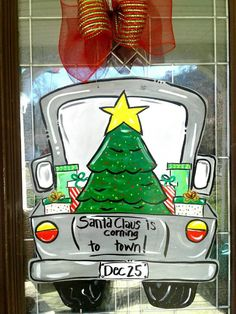 Christmas Wreath Door Hanger Door Decor Christmas Decor | Etsy Christmas Truck, Christmas Wood, Christmas Signs, Christmas Projects, All Things Christmas, Christmas Windows, Fun Projects, Holiday Crafts, Christmas Ideas