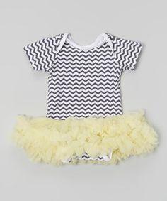 Look what I found on #zulily! Gray & Yellow Zigzag Tutu Bodysuit - Infant by Tutu AND Lulu #zulilyfinds