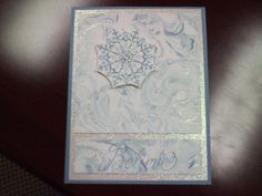 Stampin' Up Snowflake Soiree and shaving cream technique.  Baja Breeze and Sky Blue.