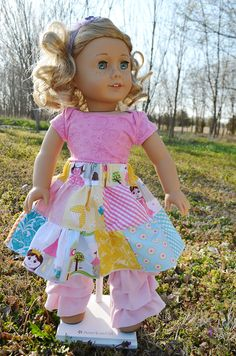 FREE doll skirt pattern by Create Kids Couture, fits American Girls dolls, includes tute for making same skirt for child. American Girl Crafts, American Doll Clothes, American Girls, Doll Sewing Patterns, Doll Dress Patterns, Sewing Tutorials, Pattern Sewing, Free Pattern, Sewing Doll Clothes