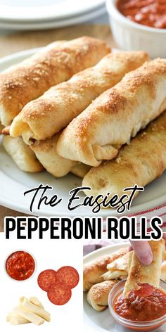 Finger Food Appetizers, Easy Appetizer Recipes, Snack Recipes, Cooking Recipes, Pizza Appetizers, Easy To Make Appetizers, Easy Pepperoni Rolls, Easy Rolls, Pasta