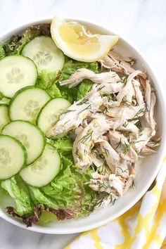 This simple, healthy chicken salad is made with breast meat from a cooked rotisserie chicken, fresh lemon and dill. Fast and easy, and perfect for all diets including low-carb, keto, Whole30, Paleo and of course, Weight Watchers.