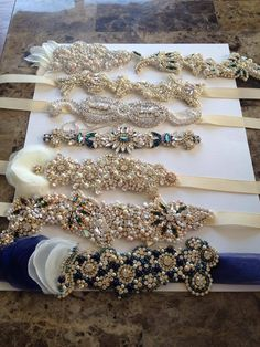 Swarovski Crystal & Pearl Wedding Dress Belt - One of a Kind Hand Stitched allysonjames.net