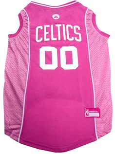 1067c028b4eb Officially licensed cotton and mesh tank Boston Celtics pink pet jersey  with screen printed team NBA basketball logo