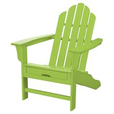 Hanover All Weather Adirondack Chair With Pull Out Ottoman Lime Green