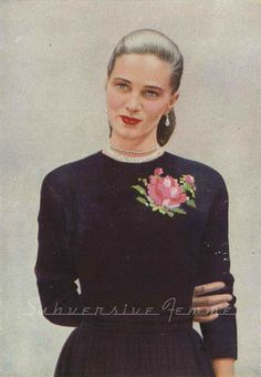 Subversive Femme: Curvy Month Pattern Bonus - Rose Patterned Sweater from Vogue, c.1940s